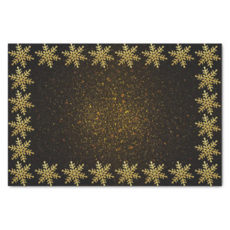 Gold Snowflakes on black golden sparkles Tissue Tissue Paper