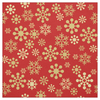 Gold snowflakes on dark red background Fabric