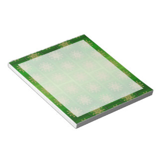 Gold Snowflakes on Emerald Notepad