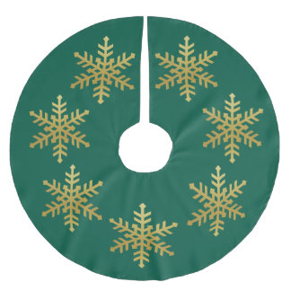 Gold Snowflakes on green Christmas Tree Skirt Brushed Polyester Tree Skirt