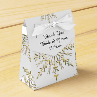 Gold Snowflakes on White Winter Wedding Favor Box