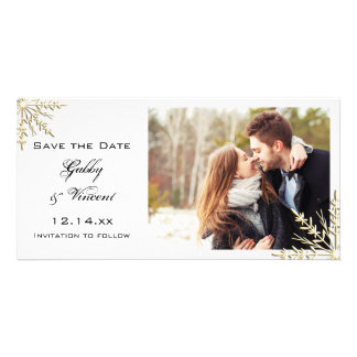 Gold Snowflakes Winter Wedding Save the Date Picture Card