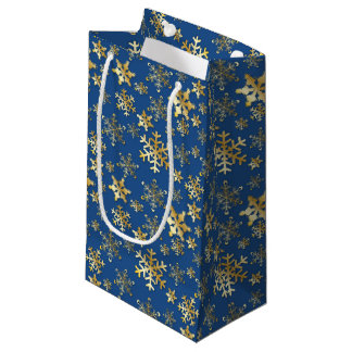 Gold Snowflakes with Drop Shadow on Blue-Gift Bag