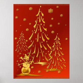 Gold Snowman and Christmas Tree Print