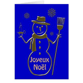 Gold Snowman Merry Christmas Joyeux Noel French Card