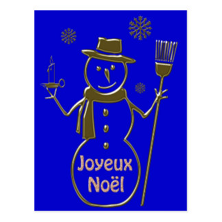 Gold Snowman Merry Christmas Joyeux Noel French Postcard