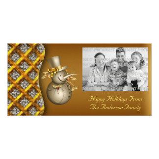 Gold Snowmen Christmas Photo Card