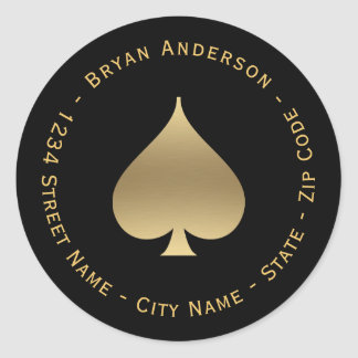 Gold Spade Symbol Return Address Label