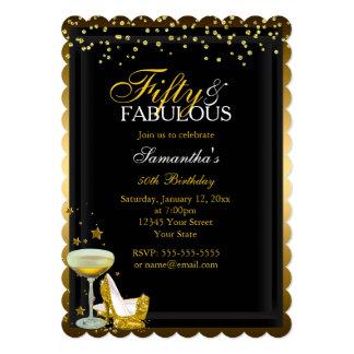 Gold Sparkle 50 & Fabulous Birthday Invitation