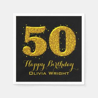 Gold Sparkle 50th Celebration Paper Napkin