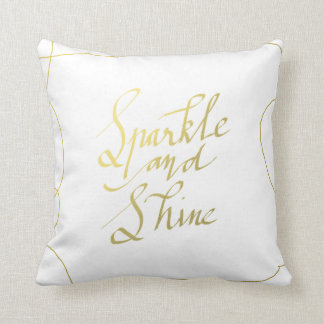Gold Sparkle And Shine Handwritten Script Holiday Throw Pillow