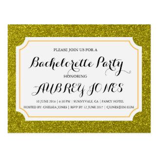 Gold Sparkle Bling Bachelorette Party Invitation Postcard