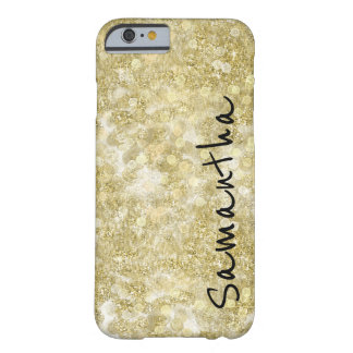 Gold Sparkle Bokeh Dots Personalized Barely There iPhone 6 Case