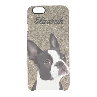 Gold Sparkle Boston Terrier Name Phone Case