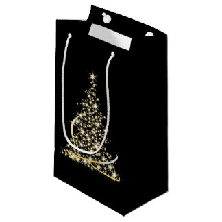 Gold Sparkle Christmas Tree Holiday Xmas Bag