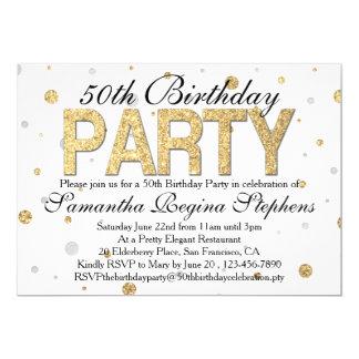 """Gold Sparkle Confetti 50th Birthday Party 5"""" X 7"""" Invitation Card"""