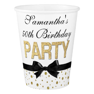 Gold Sparkle Confetti 50th Birthday Party Paper Cup