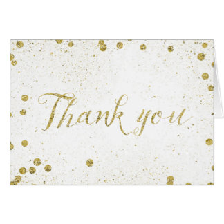 Gold Sparkle Confetti Dots Thank You Card