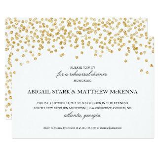 Gold Sparkle Confetti Rehearsal Dinner Invitation