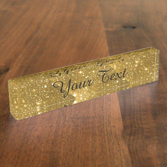 Gold Sparkle Desk Nameplate