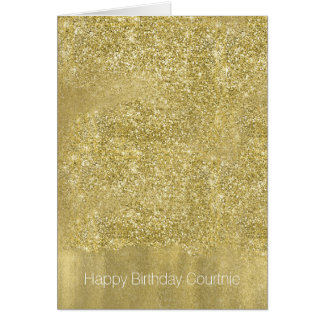 Gold Sparkle Faux Glitter Birthday Card