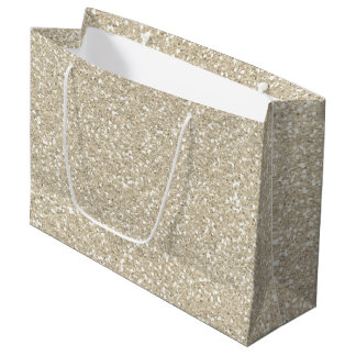 Gold Sparkle Faux Glitter Large Gift Bag