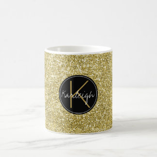 Gold Sparkle Faux Glitter Monogram Coffee Mug