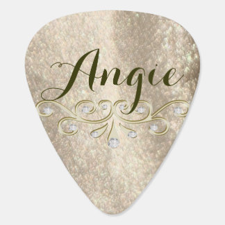 Gold Sparkle Glam Name Guitar Pick