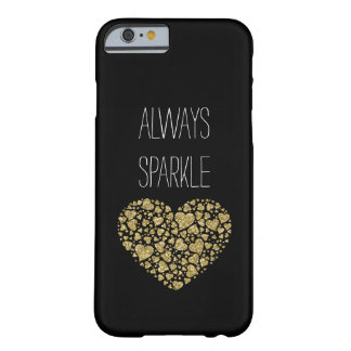 Gold Sparkle Glitter Hearts Barely There iPhone 6 Case