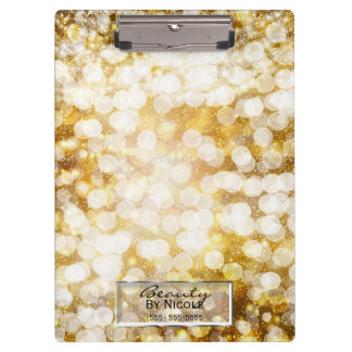 Gold Sparkle Glitter Lights Chic Glam Personalized Clipboard