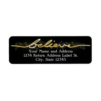 Gold Sparkle Look Bokeh Believe Christmas Return Address Label