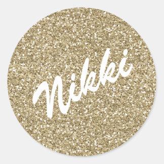 Gold Sparkle Name Sticker