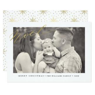 Gold Sparkle Noel Christmas Photo Cards