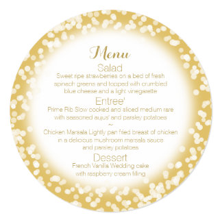 Gold Sparkle Round Menu Card