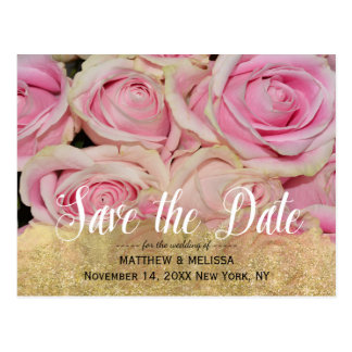 Gold Sparkle Save the Date Personalized Photo Postcard