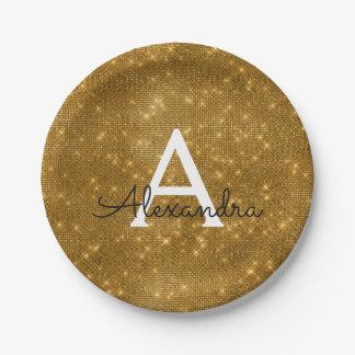 Gold Sparkle & Shimmer Monogram Birthday Paper Plate