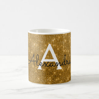 Gold Sparkle Shimmer Monogram Name & Initial Coffee Mug