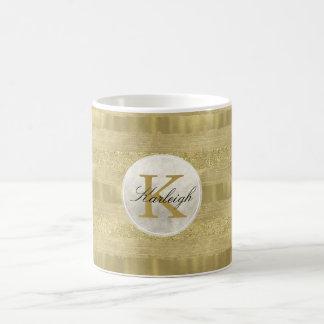 Gold Sparkle Stripes Monogram Coffee Mug