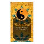 Gold Sparkle Teal Orange YinYang Business Cards