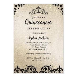 Gold Sparkle Tiara Damask Quinceanera Card