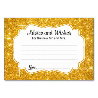 Gold Sparkle Wedding Advice and Wishes Cards Table Card