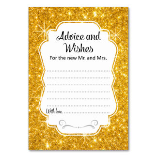 Gold Sparkle Wedding Advice & Wishes Card Vertical Table Card