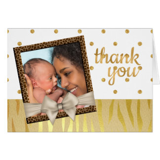 Gold Sparkle Zebra Print Baby Shower Thank You Card