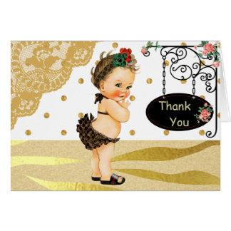 Gold Sparkle Zebra Print Baby Shower Thank You Card