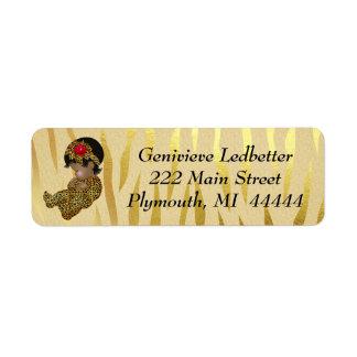 Gold Sparkle Zebra Print with Sleeping Baby Return Address Label