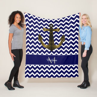 Gold sparkles Anchor Navy Blue Chevron Monogram Fleece Blanket