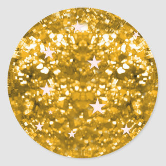 Gold sparkles glitter and stars sticker