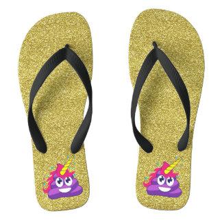 Gold Sparkles Purple Unicorn Emoji Poop Flip Flops