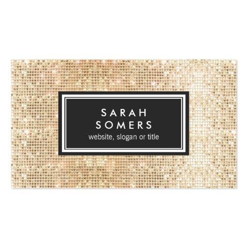 Gold Sparkly FAUX Sequin Beauty Salon Black Emblem Business Card Templates