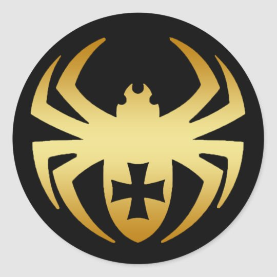 GOLD SPIDER WITH CROSS CLASSIC ROUND STICKER